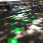 Marquage au sol bulles vertes numérotées